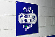 EFL enjoy the match signs on a wall in a stand at Fratton Park stadium before the EFL Sky Bet League 1 match between Portsmouth and Doncaster Rovers at Fratton Park, Portsmouth, England on 3 February 2018. Picture by Graham Hunt.