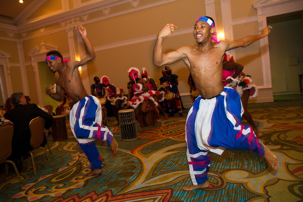 Caption:(Saturday 03/26/2011 St. Petersburg)Melvin Brown (left), Marquis Floyd and the rest of the Dundu Dole Urban African Ballet perform as The Studio @ 620 presents The 2011 Studio Honors, held at The Renaissance Vinoy Resort's Grand Ballroom...Summary:The Studio @ 620 presents The 2011 Studio Honors...Photo by James Branaman