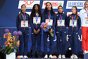 Floria Guei, Deborah Sananes, Elea Mariama Diarra, Agnes Raharolahy, Estelle Perrossier take silver medal in women relay 4x400m during the European Championships 2018, at Olympic Stadium in Berlin, Germany, Day 6, on August 12, 2018 - Photo Philippe Millereau / KMSP / ProSportsImages / DPPI