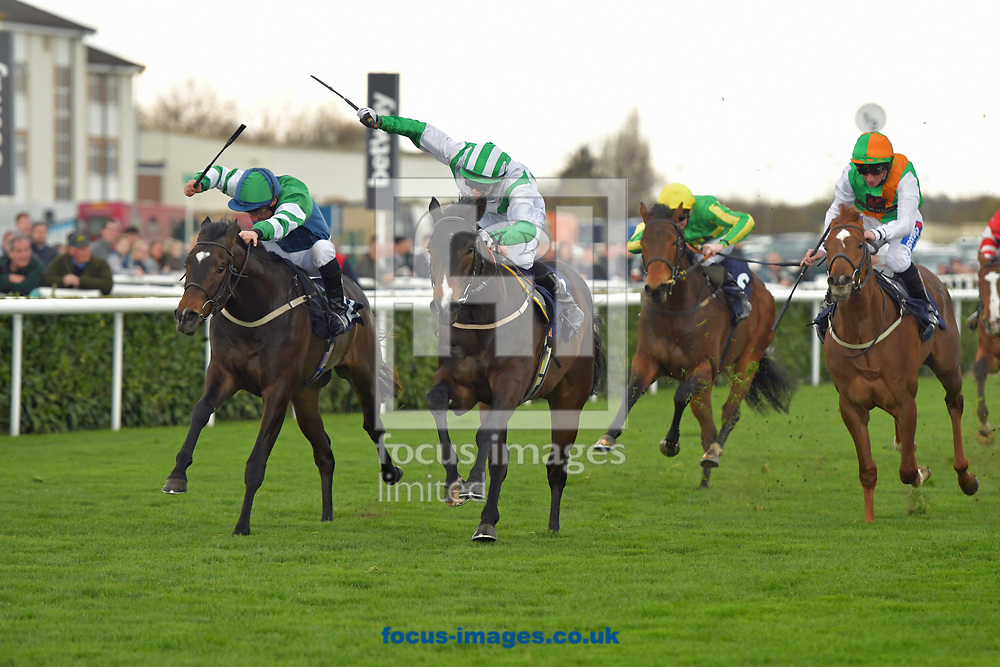 Santry ridden by Neil farley (green and white) wins Betway Brocklesby Conditions Stakes Div 1 during the Betway Lincoln meeting at Doncaster Racecourse, Doncaster<br /> Picture by Martin Lynch/Focus Images Ltd 07501333150<br /> 01/04/2017