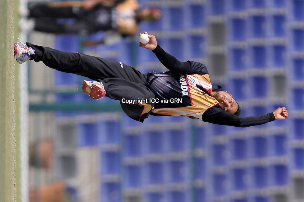 Canada's Junaid Siddiqi at the ICC World Twenty20 Qualifier UAE 2012. Pix ICC/Thusith Wijedoru