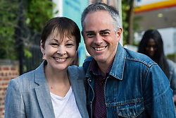 London, UK. 22 May, 2019. Caroline Lucas, Green Party MP for Brighton Pavilion, and Jonathan Bartley, Green Party co-leader, campaign for the European elections in Gipsy Hill, Lambeth. After Gibraltar, Lambeth is the most pro-Remain area of the UK with 78.6% having voted Remain in 2016. There was a large swing to the Green Party in Gipsy Hill, historically a safe Labour seat, in May 2018 when a Green councillor was elected.