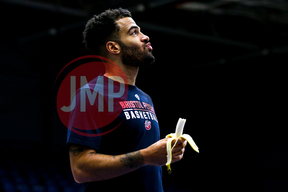 Marcus Delpeche of Bristol Flyers eats a banana - Mandatory by-line: Robbie Stephenson/JMP - 05/10/2018 - BASKETBALL - University of Worcester Arena - Worcester, England - Bristol Flyers v Worcester Wolves - British Basketball League