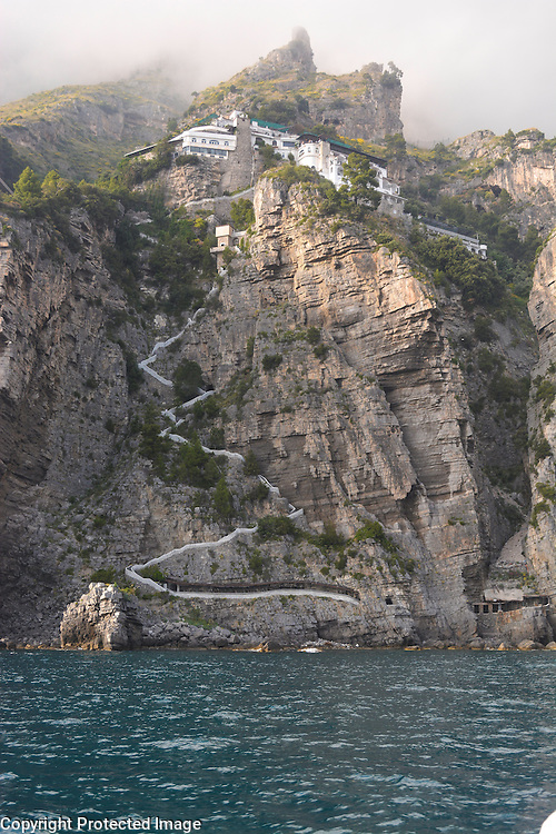 Long pathway to the sea, located on the beautiful Amalfi Coast in Italy