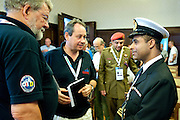 (L) Christer Samuelsson (Chairman of Tall Ships Races Europe Limited) and (R) Captain Hilal Abdullah Al Mahthoori from Oman during The Tall Ships Races 2013 on Odra River in Szczecin, Poland.<br /> <br /> Poland, Szczecin, August 02, 2013<br /> <br /> Picture also available in RAW (NEF) or TIFF format on special request.<br /> <br /> For editorial use only. Any commercial or promotional use requires permission.<br /> Mandatory credit:<br /> Photo by &copy; Adam Nurkiewicz / Mediasport