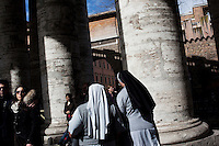 Vatican City - 9 MARCH 2013: Nuns exit Saint Peter's square from the colonnade in Vatican City on March 9, 2013. <br /> <br /> <br /> <br /> Gianni Cipriano for The New York Times