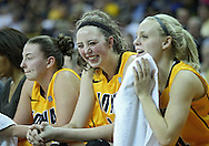 December 20, 2011: Iowa Hawkeyes center Morgan Johnson (12) and Iowa Hawkeyes guard Jaime Printy (24) are all smiles during the NCAA women's basketball game between the Drake Bulldogs and the Iowa Hawkeyes at Carver-Hawkeye Arena in Iowa City, Iowa on Tuesday, December 20, 2011. Iowa defeated Drake 71-46.