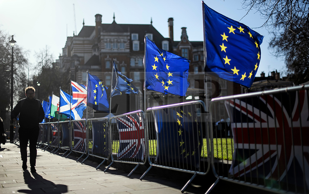 © Licensed to London News Pictures. 28/01/2019. London, UK. EU flags placed outside the Houses of Parliament in London by Anti-Brexit campaigner. MPs on Tuesday will vote on a series of amendments to the PM's plans that could shape the future direction of Brexit.. Photo credit: Ben Cawthra/LNP