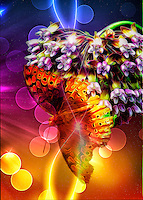 A Galactic Monarch Butterfly Perched on A Flower Cluster with a Bit of Neon Flare