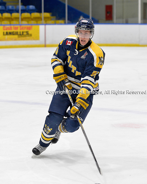 WHITBY, ON - Oct 18, 2015 : Ontario Junior Hockey League game action between Mississauga and Whitby, Reilly Smith #55 of the Whitby Fury skates with the puck during the first period.<br /> (Photo by Shawn Muir / OJHL Images)