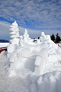"""USA, Idaho, McCall, A Snow Sculpture for the McCall Winter Carnival (""""Kelly's Whitewater Park"""")"""