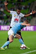 MELBOURNE, VIC - NOVEMBER 09: Wellington Phoenix defender Steven Taylor (27) competes with Melbourne City defender Bart Schenkeveld (5) at the Hyundai A-League Round 4 soccer match between Melbourne City FC and Wellington Phoenix on November 09, 2018 at AAMI Park in Melbourne, Australia. (Photo by Speed Media/Icon Sportswire)