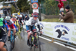 Ann-Sophie Duyck (BEL) of Cervélo-Bigla Cycling Team finishses the Trofeo Alfredo Binda - a 131,1 km road race, between Taino and Cittiglio on March 18, 2018, in Varese, Italy. (Photo by Balint Hamvas/Velofocus.com)