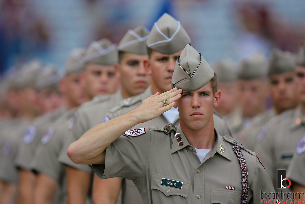 The Texas A&M University Corps of Cadets marches into Kyle Field before the start of a football game. Members of the Corps of Cadets at Texas A&M University in College Station, Texas are shown before a home football game at Kyle Field.