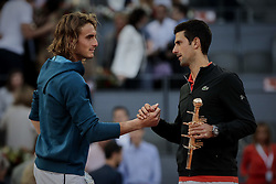May 12, 2019 - Madrid, Spain - Stefanos Tsitsipas from Greece and Novak Djokovic from Serbia after the Mutua Madrid Open Masters final match on day eight at Caja Magica in Madrid, Spain. Novak Djokovic beat Stefanos Tsitsipas. May 12, 2019. (Credit Image: © A. Ware/NurPhoto via ZUMA Press)