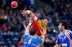 Blazenko Lackovic of Croatia vs Daniel Sarmiento of Spain during handball match between Croatia and Spain for 3rd place game at 10th EHF European Handball Championship Serbia 2012, on January 29, 2012 in Beogradska Arena, Belgrade, Serbia.  (Photo By Vid Ponikvar / Sportida.com)