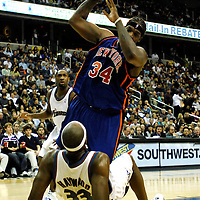 10 March 2007:   New York Knicks forward Eddy Curry (34) is called for a foul on Washington Wizards center Brendan Haywood (33) in the first half at the Verizon Center in Washington, D.C.  The Knicks defeated the Wizards 90-89.