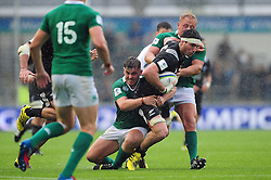 Mitchell Jacobson of New Zealand takes on the Ireland U20 defence - Mandatory byline: Patrick Khachfe/JMP - 07966 386802 - 11/06/2016 - RUGBY UNION - Manchester City Academy Stadium - Manchester, England - New Zealand U20 v Ireland U20 - World Rugby U20 Championship 2016.
