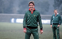 Chris Nicholl, footballer, N Ireland & Southampton, during a training session at St Albans prior to their international fixture against England at Wembley, London, UK. 19820223014CN<br /> <br /> Copyright Image from Victor Patterson,<br /> 54 Dorchester Park, <br /> Belfast, UK, BT9 <br /> <br /> t1: +44 28 9066 1296 (from Rep of Ireland 048 90661296)<br /> t2: +44 28 9002 2446 (from Rep of Ireland 048 9002 2446)<br /> <br /> m: +44 7802 353836<br /> <br /> e: victorpatterson@me.com<br /> www.victorpatterson.com<br /> <br /> Please see my Terms and Conditions of Use at www.victorpatterson.com. It is IMPORTANT that you familiarise yourself with them.<br /> <br /> Images used on the Internet must be visibly watermarked i.e. © Victor Patterson<br /> within the body of the image and copyright metadata must not be deleted. Images <br /> used on the Internet have a size restriction of 4kbs and will be chargeable at current<br />  NUJ rates unless agreed otherwise.<br /> <br /> This image is only available for the use of the download recipient i.e. television station, newspaper, magazine, book publisher, etc, and must not be passed on to any third <br /> party. It is also downloaded on condition that each and every usage is notified within 7 days to victorpatterson@me.com<br /> <br /> The right of Victor Patterson to be identified as the author is asserted in accordance with The Copyright Designs And Patents Act (1988). All moral rights are asserted.
