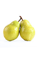 Studio shot of two pears on white background
