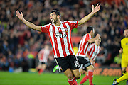 Southamptons Graziano Pelle celebrates the opening goal during the Capital One Cup match between Southampton and Aston Villa at the St Mary's Stadium, Southampton, England on 28 October 2015. Photo by Adam Rivers.