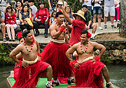 "Dancers of Tonga in the Canoe Pageant, ""Rainbows of Paradise."" The Polynesian Cultural Center (PCC) is a major theme park and living museum, in Laie on the northeast coast (Windward Side) of the island of Oahu, Hawaii, USA. The PCC first opened in 1963 as a way for students at the adjacent Church College of Hawaii (now Brigham Young University Hawaii) to earn money for their education and as a means to preserve and portray the cultures of the people of Polynesia. Performers demonstrate Polynesian arts and crafts within simulated tropical villages, covering Hawaii, Aotearoa (New Zealand), Fiji, Samoa, Tahiti, Tonga and the Marquesas Islands. The Rapa Nui (Easter Island) exhibit features seven hand-carved moai (stone statues). The PCC is run by the Church of Jesus Christ of Latter-day Saints (LDS Church). For this photo's licensing options, please inquire."