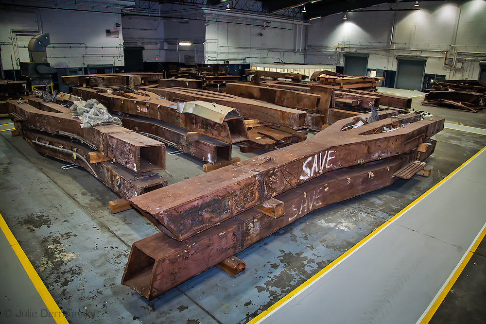 Artifacts chosen by curators out of the wreckage  from the World Trade Center  temporarily stored within an 80,000 square foot hanger at JFK airport, Hanger 17 . Some of the artifacts will be in the National September 11 Memorial Museum set to open in 2012.