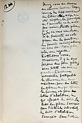 Handwritten notes for a speech supporting a bill offering amnesty to the communards (participants in the Paris Commune), 1876, page 12, by Victor Hugo, 1802-85, French writer, housed in the Archives du Senat, in the Senate in the Palais du Luxembourg, 6th arrondissement, Paris, France. Hugo was a senator for Seine 1876-85, and gave this speech on 22nd May 1876. Although this bill was not passed, a general amnesty was granted in 1880. Picture by Manuel Cohen