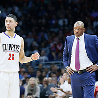 09 November 2015: Los Angeles Clippers guard Austin Rivers (25) is seen next to Los Angeles Clippers head coach Doc Rivers during the Los Angeles Clippers 94-92 victory over the Memphis Grizzlies, at the Staples Center, in Los Angeles, California, USA.