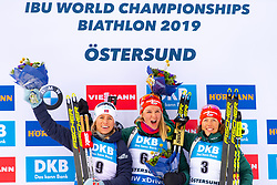 March 10, 2019 - –Stersund, Sweden - 190310 Tiril Eckhoff of Norway, Denise Herrmann and Laura Dahlmeier of Germany celebrates after the Women's 10 km Pursuit during the IBU World Championships Biathlon on March 10, 2019 in Östersund..Photo: Petter Arvidson / BILDBYRÃ…N / kod PA / 92254 (Credit Image: © Petter Arvidson/Bildbyran via ZUMA Press)