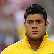 Hulk, Brazil, during the team national anthems before the USA V Brazil International friendly soccer match at FedEx Field, Washington DC, USA. 30th May 2012. Photo Tim Clayton