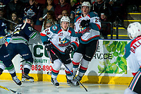 KELOWNA, CANADA - APRIL 30: Kyle Topping #24 of the Kelowna Rockets skates against the Seattle Thunderbirds on April 30, 2017 at Prospera Place in Kelowna, British Columbia, Canada.  (Photo by Marissa Baecker/Shoot the Breeze)  *** Local Caption ***