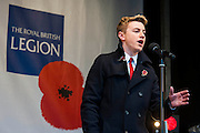 Collabro sing and add theuir poppies to the fountains. A remembrance event in Trafalgar Square included a two minute silence and poppies being placed in the fountains.
