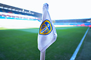 A view of a corner flag on the Elland Road Stadium pitch before the EFL Sky Bet Championship match between Leeds United and Bolton Wanderers at Elland Road, Leeds, England on 23 February 2019.