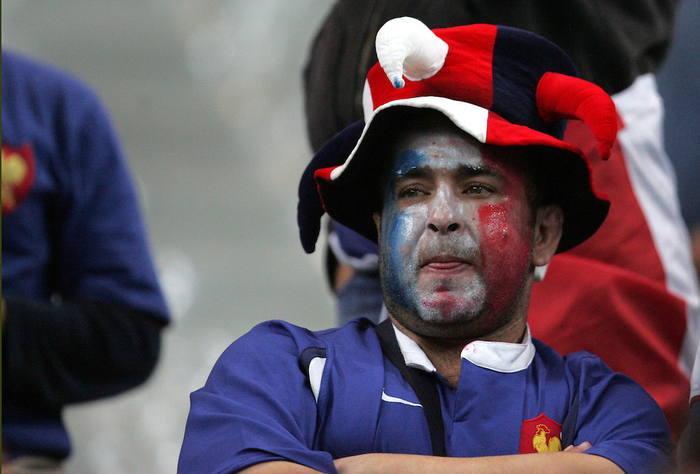 A dejected French fan. France v England, Semi Final, IRB Rugby World Cup 2007, Stade De France, St Denis, 13th October 2007.
