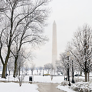 The Washington Monument stands tall at the center of the National Mall after a recent snow storm dumped more than a foot of snow on the area.