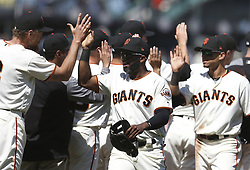 June 28, 2017 - San Francisco, CA, USA - The San Francisco Giants celebrate after a 5-3 win against the Colorado Rockies on Wednesday, June 28, 2017, at AT&T Park in San Francisco. (Credit Image: © Aric Crabb/TNS via ZUMA Wire)