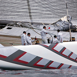 ALINGHI <br /> Day one, No wind: race cancelled<br /> 2010 America's Cup, Valencia<br /> <br /> ©2010 Kaufmann/Forster go4image.com