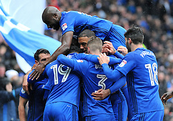Kenneth Zohore of Cardiff City celebrates his goal with team mates - Mandatory by-line: Nizaam Jones/JMP- 30/03/2018 -  FOOTBALL -  Cardiff City Stadium- Cardiff, Wales -  Cardiff City v Burton Albion - Sky Bet Championship