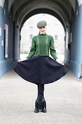 Repro Free: 06/01/2013 Sarah Morrissey is pictured wearing a Sinead Doyle cashmere skirt, Cap by Shelvin Hats and knitwear by Gonne Wilde showcasing the best of Showcase Fashion 2013. Showcase, Ireland's Creative Expo and the country's largest international trade fair, returns to the RDS this January, attracting buyers from over 17 countries keen to discover exciting and innovative new Irish products. Now in its 37th year, Showcase features over 400 of Ireland's leading designers, manufacturers and craftspeople delivering high quality products that are often unique to the show.   .This year's event, which takes place at the RDS from January 20th to 23rd 2013, focuses on two key strands - Fashion & Jewellery and Home & Giftware, with other exciting features such as 'Creative Island', an expanded 'Enterprise Zone', 'Selected at Showcase' and the ?Showcase Awards Programme?, networking events and the popular seminar programme featuring top international industry experts. Pic Andres Poveda.
