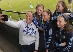 Marie Harman takes a selfie with some of the girls from Westport&rsquo;s U14 Camoige team Katie Harman, Saoirse Loftus, Aine Heneghan and  Leah Coffey.<br />