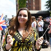 Speaker Elizabeth Jones, UKIP NEC/London rally to Welcoming Trump to London Rally - Make Britain Great Again outside US Embassy, London, UK. July 14 2018.