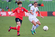 MELBOURNE, VIC - MARCH 06: Ria Percival (2) of New Zealand competes for the ball during The Cup of Nations womens soccer match between New Zealand and Korea Republic on March 06, 2019 at AAMI Park, VIC. (Photo by Speed Media/Icon Sportswire)