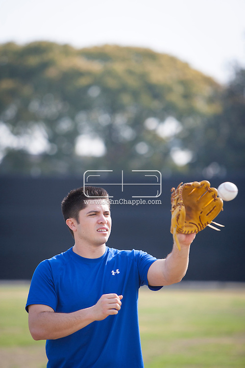 January 9, 2013. Lakewood, California. Travis d'Arnaud, catcher fot the New York Mets. Pictured at Lakewood High School..Photo Copyright John Chapple / www.JohnChapple.com