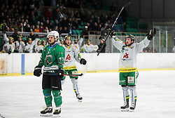Philipp Koczera of Lustenau celebrates during Ice Hockey match between HK SZ Olimpija and EHC Alge Elastic Lustenau in Semifinal of Alps Hockey League 2018/19, on April 5, 2019, in Arena Tivoli, Ljubljana, Slovenia. Olimpija win the game and qualify to Final of AHL. Photo by Matic Klansek Velej / Sportida