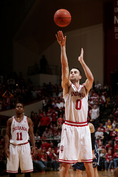 12 February 2014: Indiana Forward Will Sheehey (0) as the Indiana Hoosiers played Penn State in a college basketball game in Bloomington, Ind.