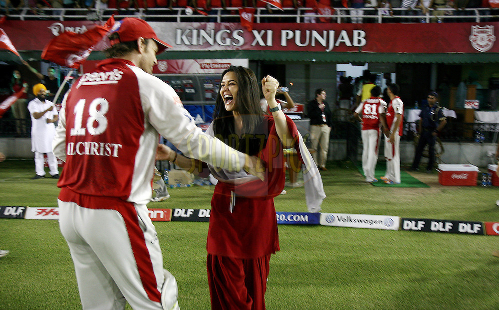 Kings XI Punjab team owner Preity Zinta meets her team captain Adam Gilchrist after winning the match 54 of the Indian Premier League ( IPL ) Season 4 between the Kings XI Punjab and the Mumbai Indians held at the PCA stadium in Mohali, Chandigarh, India on the 10th May 2011..Photo by Money Sharma/BCCI/SPORTZPICS