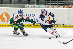 20.02.2015, Curt-Frenzel-Stadion, Augsburg, GER, DEL, Augsburger Panther vs EHC Red Bull München, 49. Runde, im Bild l-r: im Zweikampf, Aktion, mit Greg Moore #26 (Augsburger Panther) und Francois Methot #38 (EHC Red Bull Muenchen) // during Germans DEL Icehockey League 49th round match between Adler Mannheim and Grizzly Adams Wolfsburg at the Curt-Frenzel-Stadion in Augsburg, Germany on 2015/02/20. EXPA Pictures © 2015, PhotoCredit: EXPA/ Eibner-Pressefoto/ Kolbert<br /> <br /> *****ATTENTION - OUT of GER*****