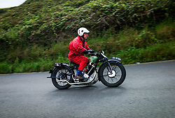 &copy; Licensed to London News Pictures. <br /> 10/09/2017 <br /> Saltburn by the Sea, UK.  <br /> <br /> An entrant rides his motorcycle up the hill during the annual Saltburn by the Sea Historic Gathering and Hill Climb event. Organised by Middlesbrough and District Motor Club the event brings together owners of a wide range of classic cars and motorcycles dating from the early 1900's to 1975. Participants take part in a hill climb to test their machines up a steep hill near the town. Once held as a competitive gathering a change in road regulations forced the hill climb to become a non-competitive event.<br /> <br /> Photo credit: Ian Forsyth/LNP