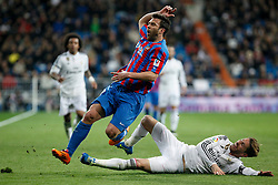 15.03.2015, Estadio Santiago Bernabeu, Madrid, ESP, Primera Division, Real Madrid vs UD Levante, 27. Runde, im Bild Real Madrid&acute;s Sergio Ramos (R) and Levante&acute;s Navarro // during the Spanish Primera Division 27th round match between Real Madrid CF and UD Levante at the Estadio Santiago Bernabeu in Madrid, Spain on 2015/03/15. EXPA Pictures &copy; 2015, PhotoCredit: EXPA/ Alterphotos/ Victor Blanco<br /> <br /> *****ATTENTION - OUT of ESP, SUI*****